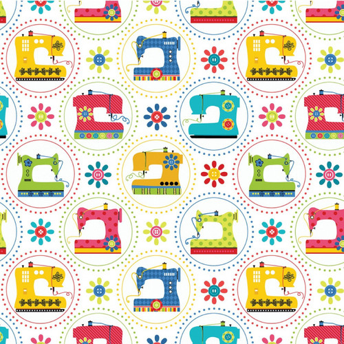 Kanvas Studio Sew Excited Sewing Machines White 100% Cotton Remnant (40 x 112cm KS Sew Excited 7)