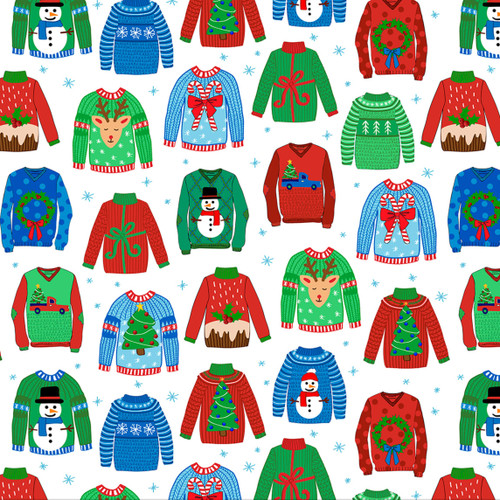 Quilting Treasures Sweater Weather Christmas Jumpers White 100% Cotton Remnant (50 x 110cm QT Sweater Weather 4)