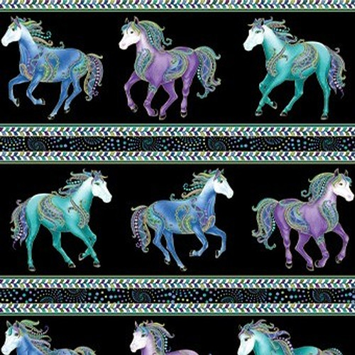 Benartex Horsen Around Galloping Horses Stripe Metallic Black 100% Cotton Remnant (29 x 112cm Horsen Around 7)