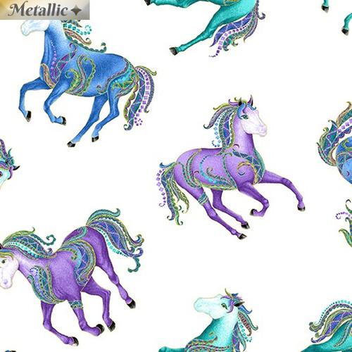Benartex Horsen Around Reigning Horses Metallic White 100% Cotton Remnant (52 x 112cm Horsen Around 4)
