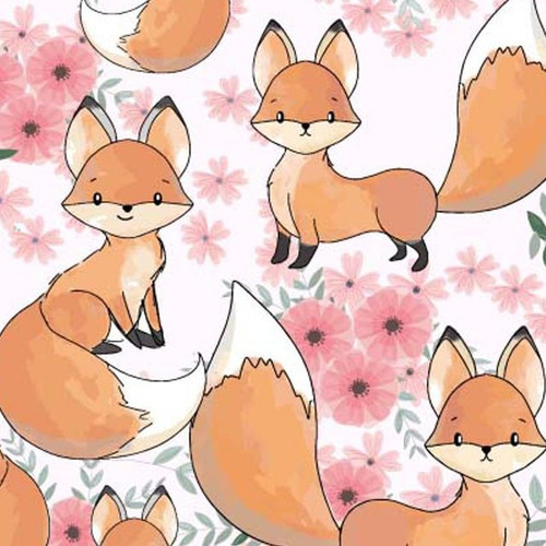 Little Johnny Cute Baby Fox Cubs White 100% Cotton (Cute Foxes)