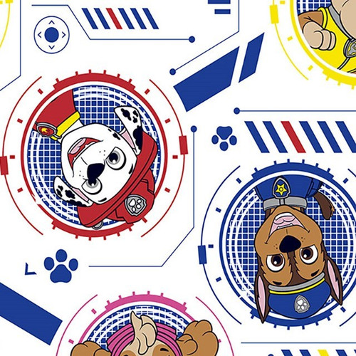 Digital Paw Patrol Puppy Faces White 100% Cotton (Paw Patrol 5)