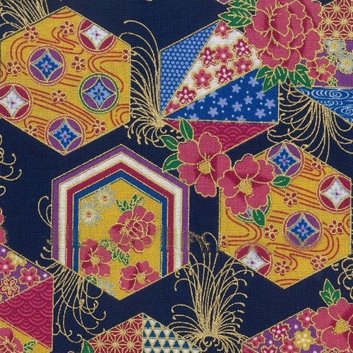 Nutex Sokyo Metallic Japanese Geometric Floral Hexagons Blue 100% Cotton (Japanese Sokyo 2)