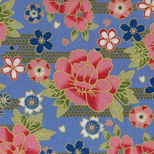 Nutex Sokyo Metallic Japanese Floral Sky Blue 100% Cotton (Japanese Sokyo 5)