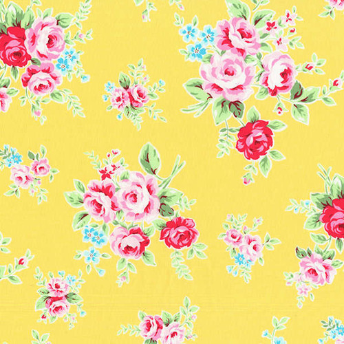 Lecien Flower Sugar Rose Sprigs Yellow 100% Cotton Remnant (50 x 112cm Lecien Flower Sugar 4)