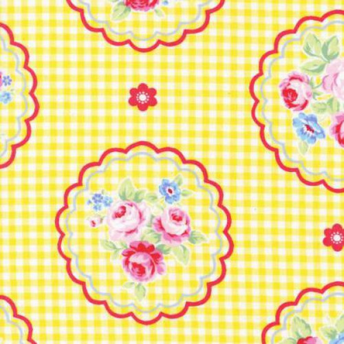 Lecien Flower Sugar Rose Kiss Gingham Doilies Corn Yellow 100% Cotton Remnant (50 x 112cm Lecien Flower Sugar 1)