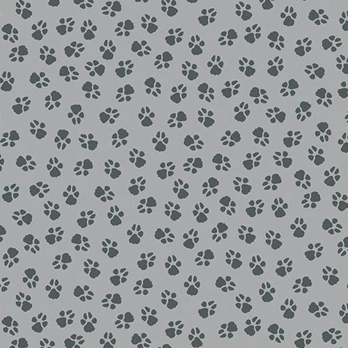 Benartex Dog On It Paw Prints Medium Grey 100% Cotton Remnant (50 x 112cm Benartex Dog On It 11)