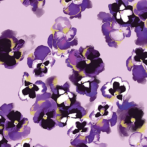 Kanvas Studio Pansy Noir Floral Metallic Purple 100% Cotton Remnant (51 x 112cm KS Pansy Noir 1)