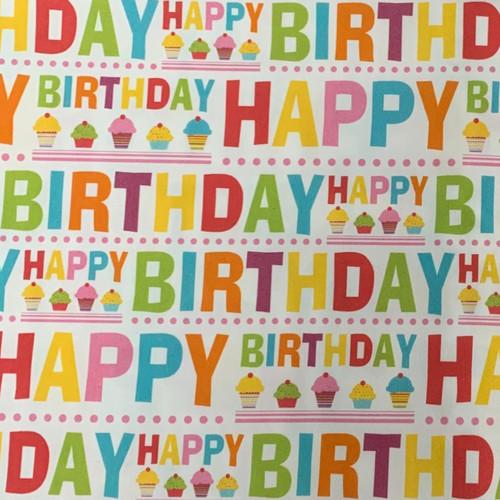 The Vintage Sweetheart Happy Birthday White 100% Cotton Remnant (56 x 74 cm VS Happy Birthday)