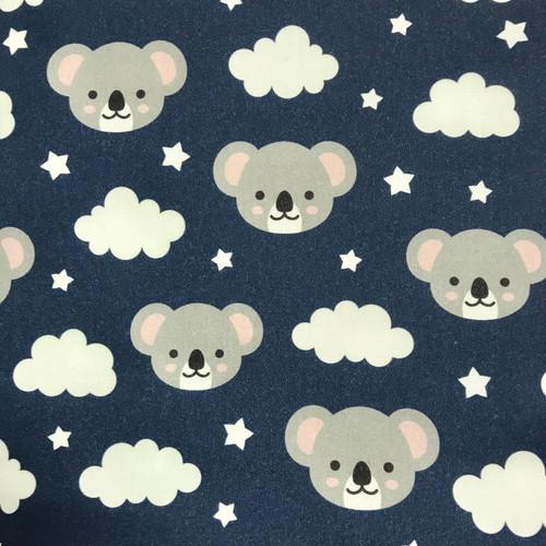 The Vintage Sweetheart Cute Novelty Koalas & Clouds Blue 100% Cotton Remnant (90 x 54cm VS Koala Heads)