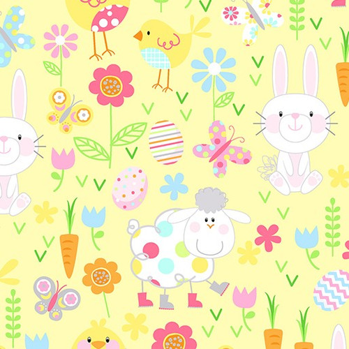 Kanvas Studio Hippity Hoppity Spring Easter Friends Yellow 100% Cotton Remnant (50 x 112cm KS Hippity Hoppity 3)