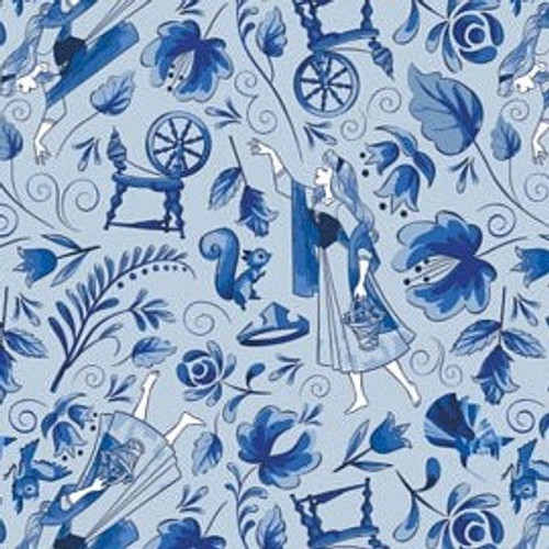 Disney Sleeping Beauty Aurora & Spinning Wheel on Blue 100% Cotton Remnant (71 x 110cm Sleeping Beauty Elements 4)