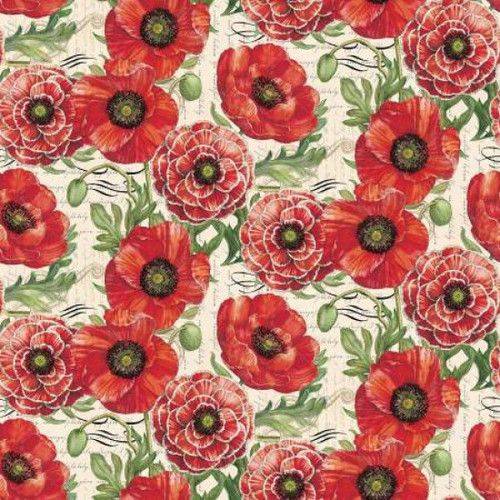 Springs Creative Poppies Vintage Cream 100% Cotton Remnant (72 x 110cm SC Poppies & Butterflies 3)