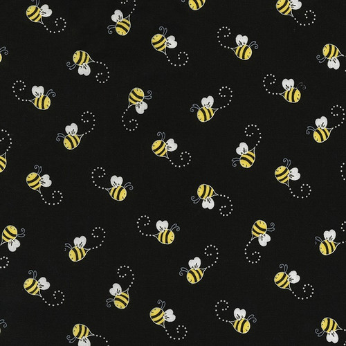 Timeless Treasures You Are My Sunshine Bees Black 100% Cotton (TT You Are My Sunshine Bees)