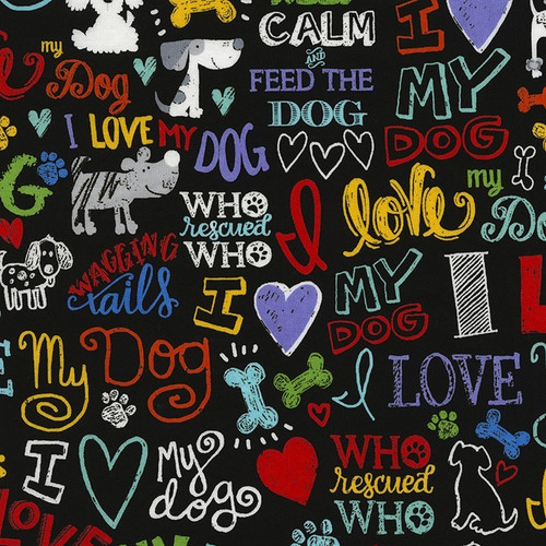 Timeless Treasures Multicoloured Words I Love My Dog Black 100% Cotton (TT Dogs Are The Best)