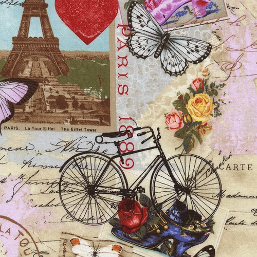 Timeless Treasures Antique Vintage Paris Travelling Collage Beige 100% Cotton (TT Antique Paris)