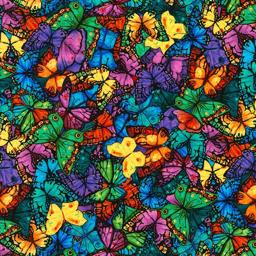 Timeless Treasures Pavilion Packed Butterflies Multicoloured 100% Cotton (TT Pavilion Butterflies)