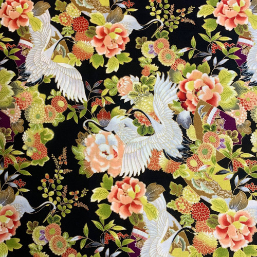 Nutex Tokiwa Metallic Japanese Floral Cranes Black 100% Cotton Remnant (65 x 112cm Japanese Tokiwa Black)
