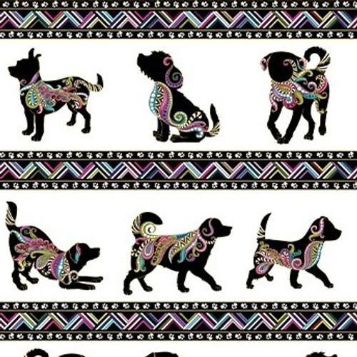 Benartex Dog On It Metallic Dog Walk Stripe White 100% Cotton Remnant *MARKS* (69 x 112cm Benartex Dog On It 10)