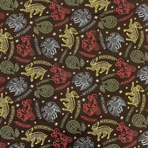 Harry Potter Mystical Houses Hogwarts Black 100% Cotton Remnant (48 x 110cm Harry Potter 34)