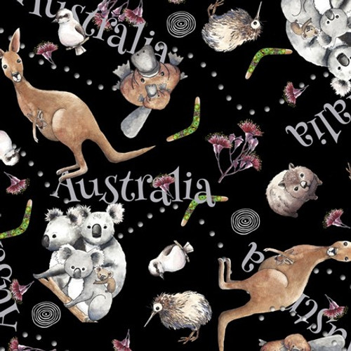 Quilting Treasures Kiwis & Koalas Animal Toss Black 100% Cotton (QT Kiwis & Koalas 1)