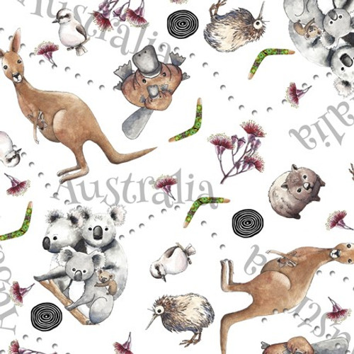 Quilting Treasures Kiwis & Koalas Animal Toss White 100% Cotton (QT Kiwis & Koalas 2)