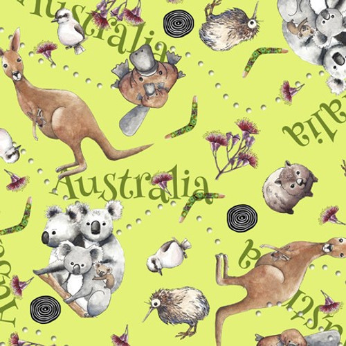 Quilting Treasures Kiwis & Koalas Animal Toss Kiwi Fruit Green 100% Cotton (QT Kiwis & Koalas 3)