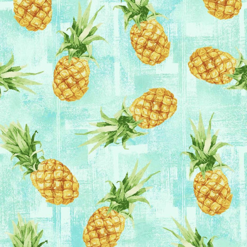 Oasis Fabrics Tropic Pineapples Aqua 100% Cotton (OF Pineapples)