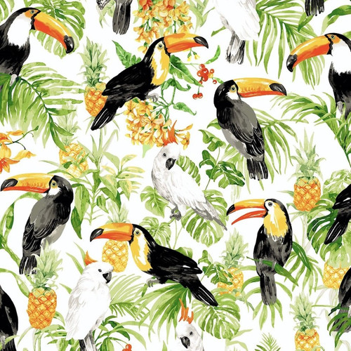 Oasis Fabrics Tropic Toucan Cockatoo Pineapple White 100% Cotton (OF Toucan White)