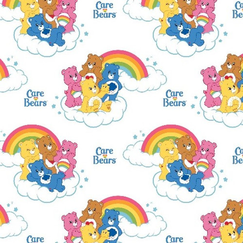 Camelot Fabrics Care Bears Rainbow Cloud White 100% Cotton (Care Bears 9)
