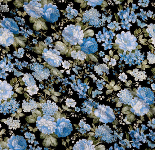 Kanvas Studio Blue Symphony Large Blue Floral With Metallic Accents Black 100% Cotton Remnant (45 x 112cm KS Blue Symphony 4)