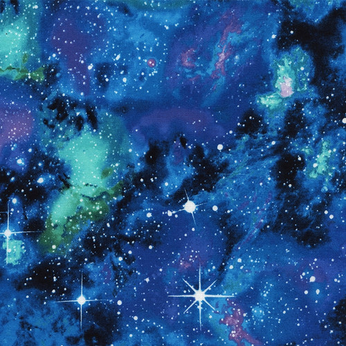 Timeless Treasures Diamond Galaxy Stars Space Blue 100% Cotton Remnant (28 x 112cm TT Diamond Galaxy)