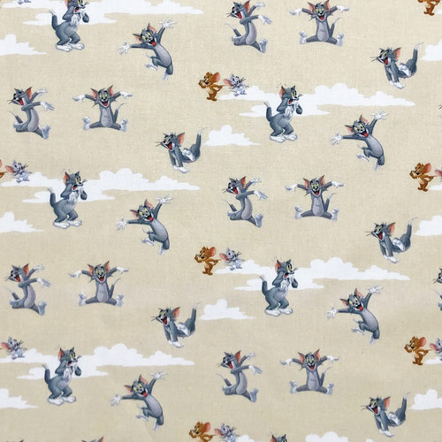 Tom And Jerry Beige 100% Cotton Remnant (71 x 140cm Tom And Jerry 1)