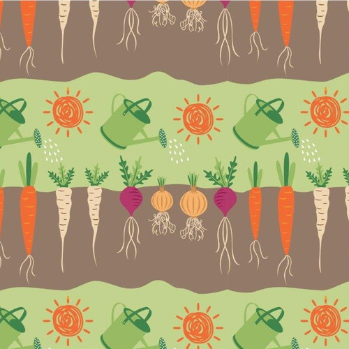 Selection Of Vegetables & Watering Cans 100% Cotton Remnant (46 x 112cm Vegetable Patch 4)