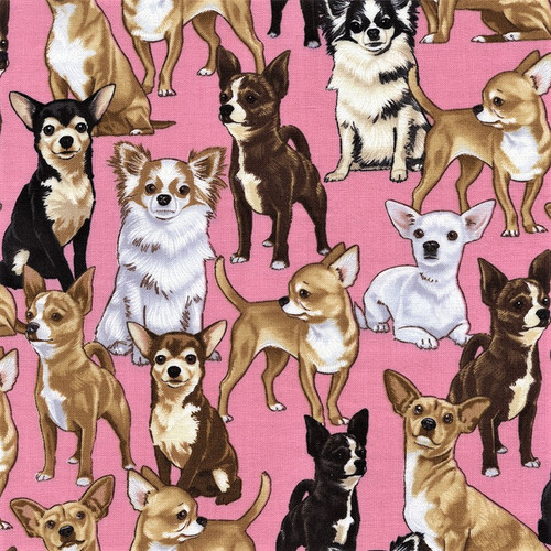 Timeless Treasures Chihuahua  Pink 100% Cotton Remnant (57 x 112cm TT Chihuahua)