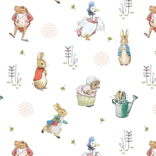 Peter Rabbit Characters White 100% Cotton Remnant (49 x 110cm Peter Rabbit 5)