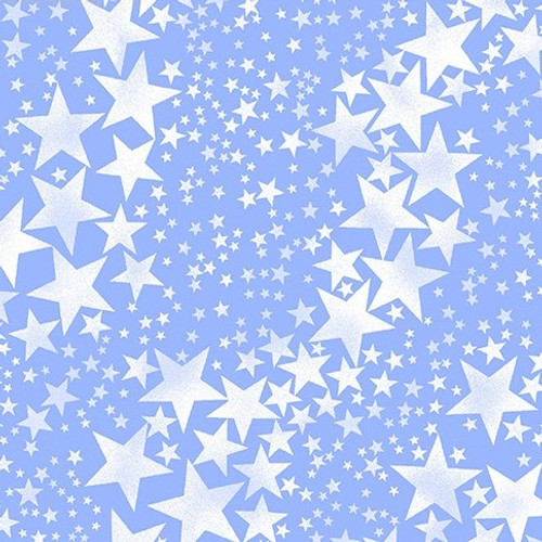 Kanvas Studio Pearl Frost Pearlescent Pearly Stars Ice Blue 100% Cotton Remnant (45 x 112cm KS Pearl Frost 1)