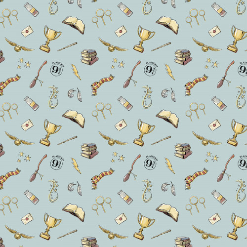 Harry Potter Emblems Blue 100% Cotton Remnant (44 x 110cm Harry Potter 27)