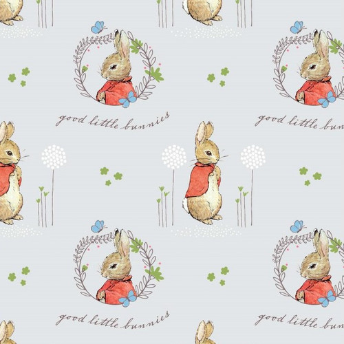 Peter Rabbit Flopsy Mopsy Grey 100% Cotton Remnant (46 x 110cm Peter Rabbit 6)