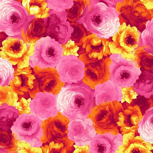 Timeless Treasures Rain Blossom Packed Roses Pink 100% Cotton Remnant (37 x 112cm TT Rain Blossom Pink)