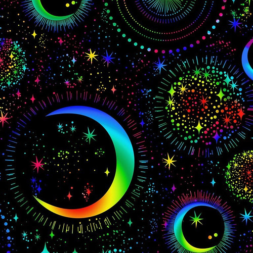 Timeless Treasures Rainbow Sketched Moons & Stars Black 100% Cotton Remnant (43 x 112cm TT Rainbow Moons)