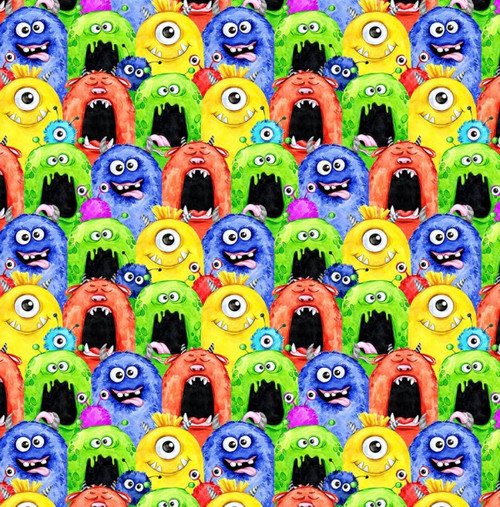 Chatham Glyn Novelty Little Monsters Halloween Multicoloured 100% Cotton (CG Little Monsters)