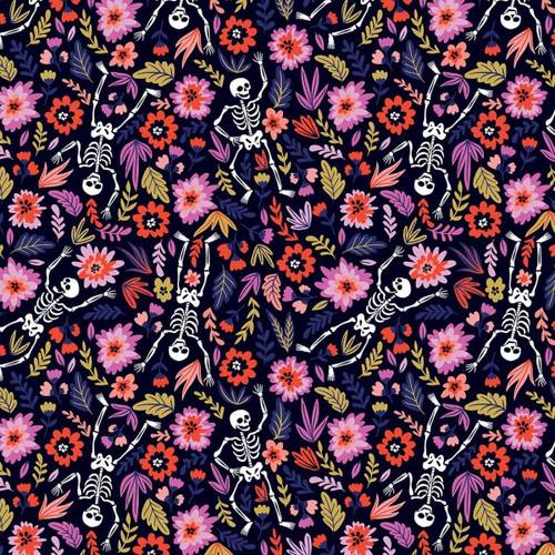 Chatham Glyn Day Of The Dead Floral Skeletons Dark Navy 100% Cotton (CG Day Of The Dead 3)
