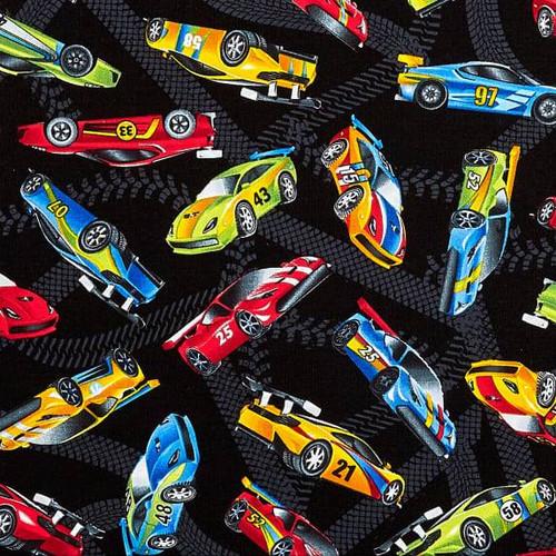 Timeless Treasures Speed Race Cars Black 100% Cotton (TT Race Cars)