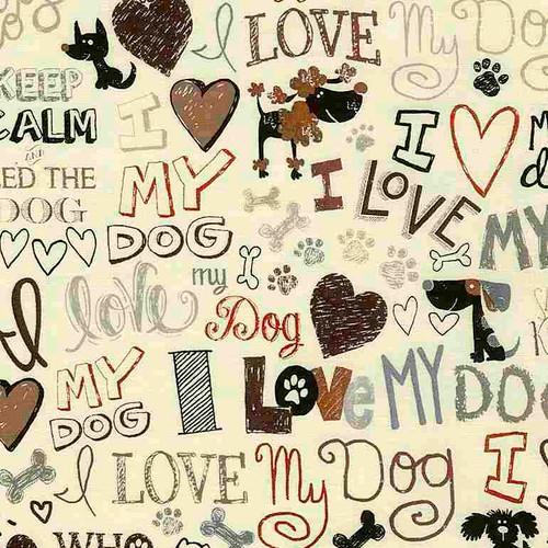 Timeless Treasures Words I Love My Dog Cream 100% Cotton (TT My Dog Cream)