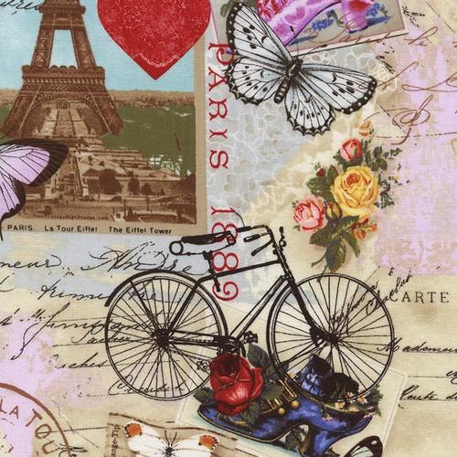 Timeless Treasures Antique Vintage Paris Travelling Collage Beige 100% Cotton Remnant (46 x 112cm TT Antique Paris)