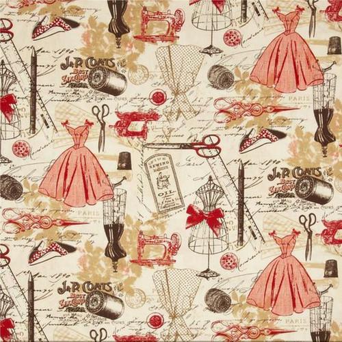 Timeless Treasures Paris Atelier Vintage Dressmaking Off White 100% Cotton Remnant (47 x 112cm TT Vintage Dressmaking)
