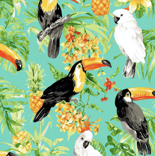 Oasis Fabrics Tropic Toucan Cockatoo Pineapple Turquoise 100% Cotton Remnant (50 x 112cm OF Toucan Turquoise)