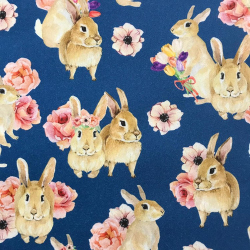 The Vintage Sweetheart Spring Bunny Rabbits Floral Crowns Blue 100% Cotton (VS Flower Bunnies - 1 METRE PIECE)