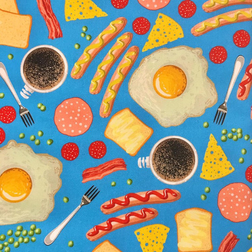 The Vintage Sweetheart Breakfast Time Fry Up Food Blue 100% Cotton (VS All You Can Eat - 1 METRE PIECE)